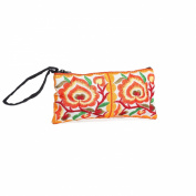 Changnoi Orange Hill Tribe Coin Pouch Hmong Embroidered Thailand Handmade