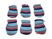 6 Pairs Cotton Newborn Baby/infant Boy No Scratch Mittens Gloves - Stria