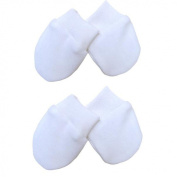 Premature Early Baby Clothes Pack of 2 Scratch Mittens1.5lb,1.6kg,1.6kg,1.6kg White