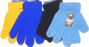 Four Pairs Magic Microfiber Stress Gloves for Infants for Ages 1-4 Years