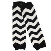 Wrapables Colourful Baby Leg Warmers, Chevron Black and White