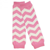 Wrapables Colourful Baby Leg Warmers, Chevron Pink and White