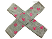 KWC - Grey with Pink Peace Sign Baby Leg Warmer/ Leggings