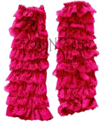 Shocking Pink Lace Ruffle Baby Toddler Leg Warmers. One Size. Tiers of Lace