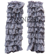 Grey Lace RUFFLE Baby Toddler Leg warmers. One Size. Tiers of Lace. Just Adorable!
