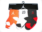 Nike Air Jordan Baby Socks Orange, White, Grey, 6 PAIRS, Size 12-24 Months