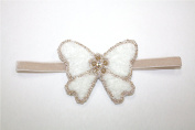 Ivory Butterfly with Gold . Rhinestone