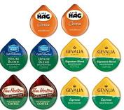 10 TASSIMO® T-Disc DECAF Variety Sampler! 5 unique Decaf varieties! Hag Crema, Tim Horton's, Gevalia ++