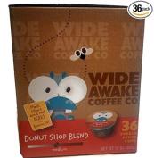 Wide Awake Coffee, Donut Shop Blend K-cups, 36 Single Serve Cups