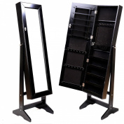 Mirrored Jewellery Cabinet Amoire Black W/stand Mirror Organiser Storage Box Rings