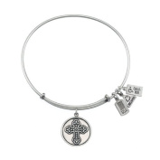Wind and Fire Fleur De Lis Cross Charm Bracelet in Silver-Plated Brass