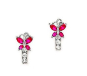 Butterfly Girls Simulated Birthstone Huggie Earrings 925 Sterling Silver with Secure Lever Back