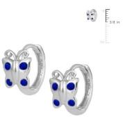 Sterling Silver Simulated Birthstone Butterfly Huggie Hoop Earrings For Girls
