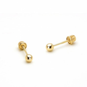 14k Yellow Gold 3, 4, 5mm Solid Plain Gold Ball Children Screw-Back Earrings Baby, Toddler & Kids