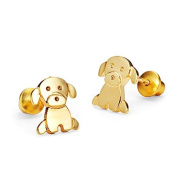 14k Gold Plated Baby Dog Children Screwback Earrings with 925 Silver Post Baby, Toddler & Kids