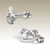 Sterling Silver Rocking Horse Stud Earrings Crystal