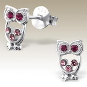Children Silver Ear Studs, Owl Ear Studs with Crystal Stones