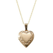 Children's 14k Gold Floral Heart Locket with Rope Chain