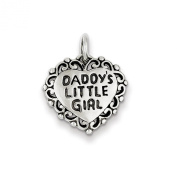 16mm Antiqued Daddy's Little Girl Heart Pendant in Sterling Silver