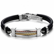 MoAndy Jewellery Titanium Stainless Steel Men's Bracelet Black Silicone Hand Line 22cm Length