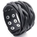 KONOV Jewellery Mens Adjustable Leather Bracelet, Wide Punk Rock Cuff Bangle, Fit 18cm - 20cm , Black