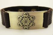 Metatron Cube Bracelet, Leather, Adjustable