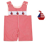 Dana Kids Red White July 4th Stripe Boat Smocked Shortall Baby Boy 6M-3T