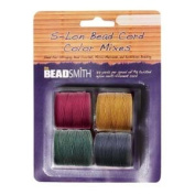 4 Spools Super-lon #18 Cord Ideal for Stringing Beading Crochet and Micro-macram Jewellery Compatible with Kumihimo Projects S-lon Dark Mix