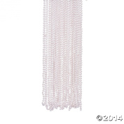 GLOSSY FINISH WHITE BEADS NECKLACE (4 DOZEN) - BULK