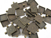 10 Square Pendant Trays - Antique Bronze Colour - 1 Inch - 25mm - Pendant Blanks Cameo Bezel Settings Photo Jewellery - Custom Jewellery Making - 1""