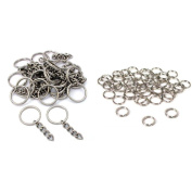 Nickel Plated Key Chain Rings W/ Chain & Split Rings Jewellery Connectors 50 Pcs