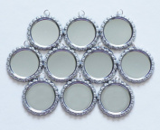 LOVEKITTY TM -- 50 pcs Flattened Silver Bottle Caps with Holes and 8mm Split Rings Attached