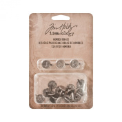 Number Brads by Tim Holtz Idea-ology, 24 per Pack, 1.3cm , Antique Nickel Finish, TH93123