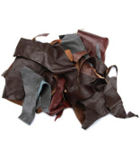 Leather Scraps from Garment Leather Cutting -0.5kg -Mostly Black Colour
