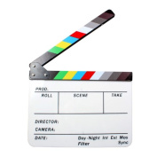 Andoer Acrylic Clapboard Dry Erase Director Film Movie Clapper Clapboard Board Slate 9.6 * 30cm with Colour Sticks