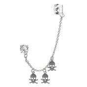 Earring Cuff with Chain Skull, Ear Cuff Skull Chain Dangle, Cartilage Earrings