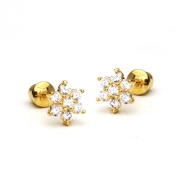 14k Gold Plated Baby Flower Children Screwback Earring With 925 Silver Post Baby, Toddler, Kids & Children