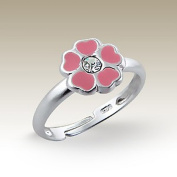 Children Ring, Flower Silver Ring with Crystal Stones, Size Adjustable, Sterling Silver 925