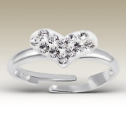 Children Ring, Heart Ring with Crystal Stones, Size Adjustable, Sterling Silver 925
