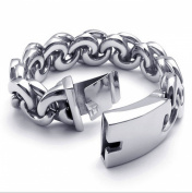 Jonline24h Large Heavy Wide Stainless Steel Biker Men's Bracelet Bangle, Silver 22cm Gift