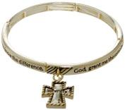 Bracelet - Serenity Prayer Silver Tone Stretch Bracelet -Kiki's Shining Serenity