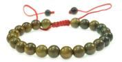 DAH 8mm Tibetan Buddhist Green Sandalwood Prayer Bead Bracelet