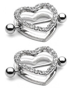 2pcs Clear Gem Paved Heart Nipple Shield Ring 14GA 2.2cm Length
