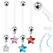 "CLEAR CRYSTAL Star Dangle Pregnancy Maternity Flexible Belly Button Naval Retainer Ring. UV, Nickel and Allergy Free - 14G - 1"" long - 5mm Ball"