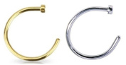 2pcs 20g Gold & Silver Plated Nose Ring Piercing Hoop 20 Gauge 0.8cm