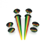 2 Pairs - Rasta Design - Acrylic Fake Plugs And Tapers - Cheaters - 0G Gauge - 8mm