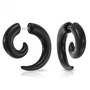 Bling Jewellery Fake Taper Black Acrylic Spiral Earrings 316L Surgical Steel 16G