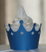 All About Details Shimmer Blue Crown Cupcake Wrappers, Set of 12