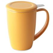 FORLIFE Curve Tall Tea Mug with Infuser and Lid 440mls, Mandarin