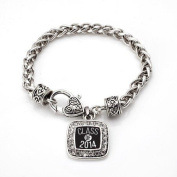 Class of 2014 Graduation Gift for High school & College Classic Silver Plated Square Crystal Charm Bracelet